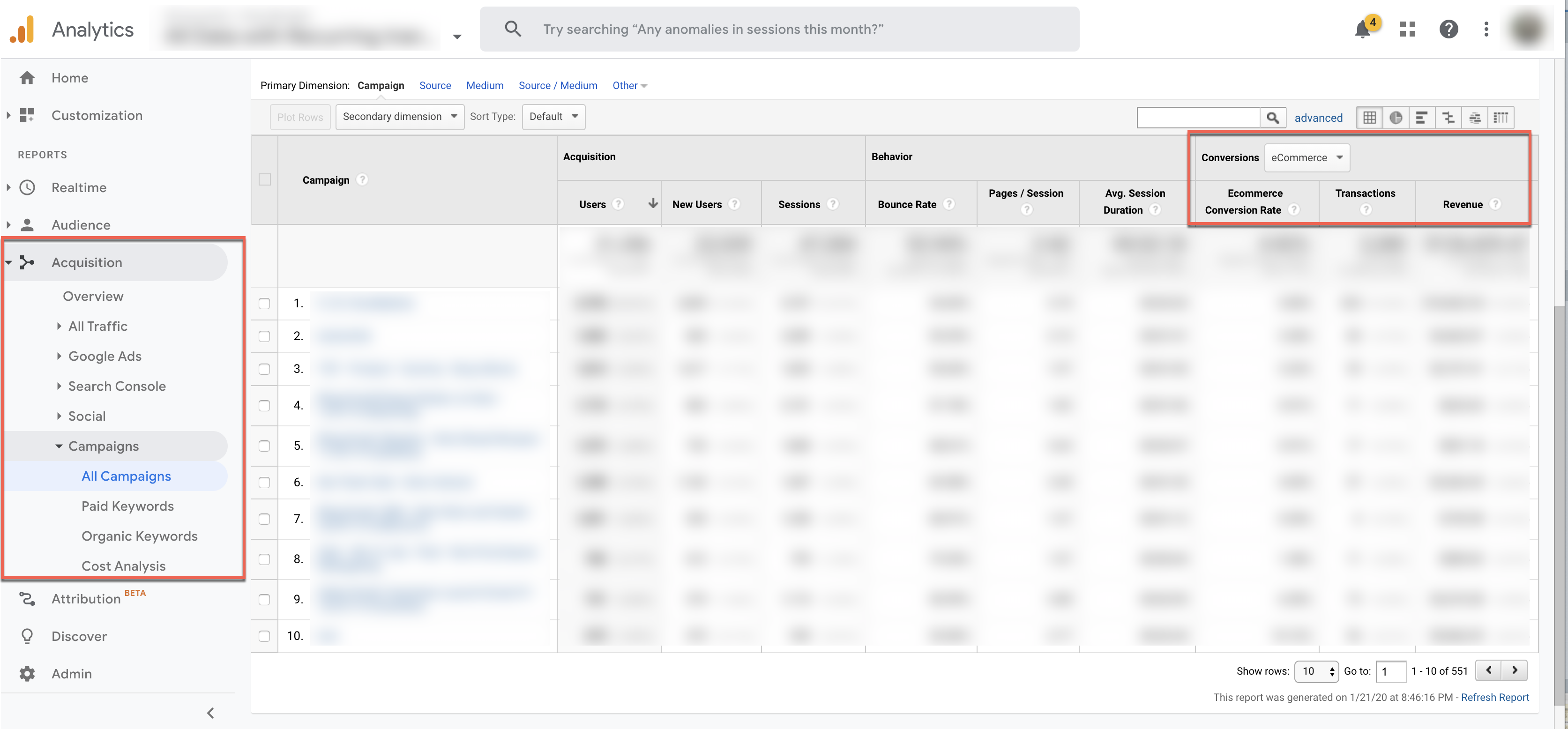 cost analysis and campaign google analytics report