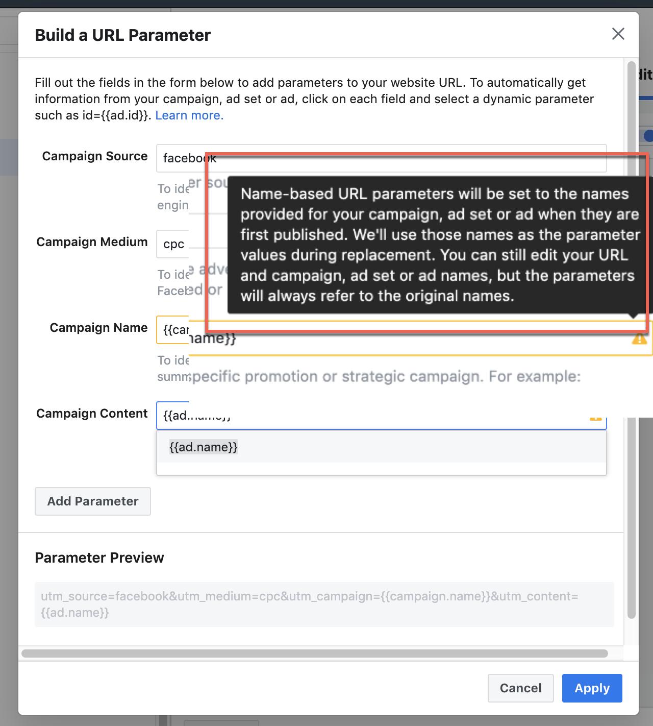 name based facebook parameters