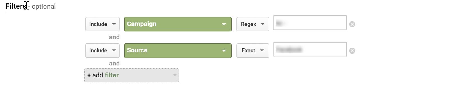 google analytics custom reports filters