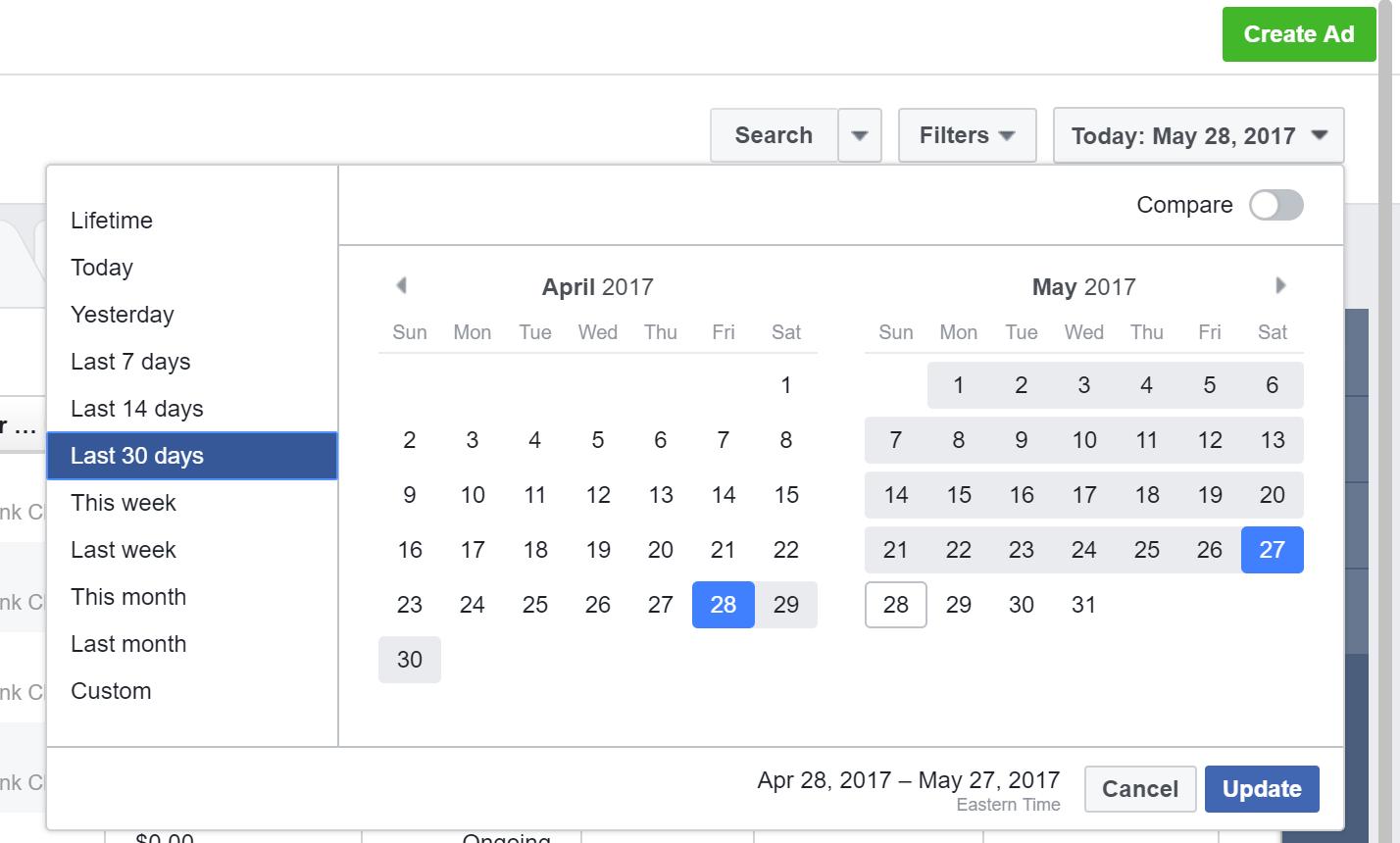Tracking Facebook Ads in Google Analytics - Facebook Date Range