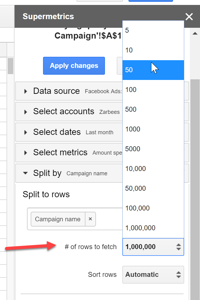 Google Data Studio - Supermetrics number of rows