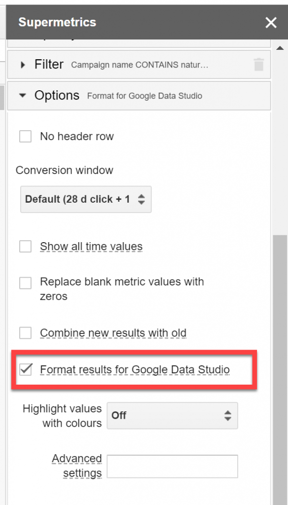 Google Data Studio - Format Supermetrics Query