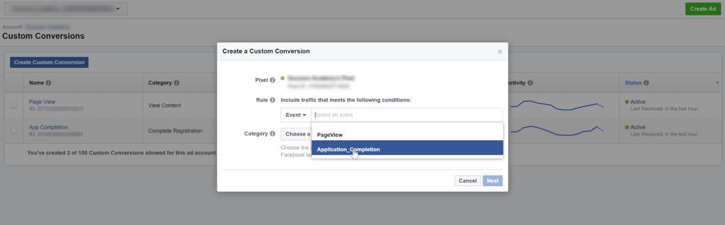 Create a custom conversion off of a custom event
