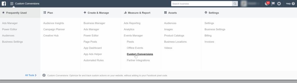 Facebook Pixel Custom Conversions
