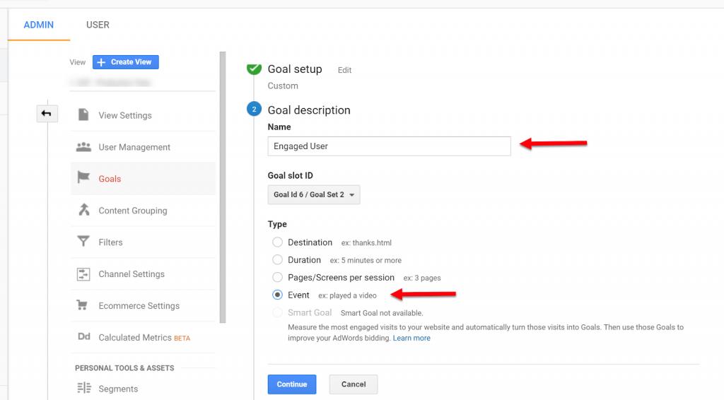 Event Goals in Google Analytics