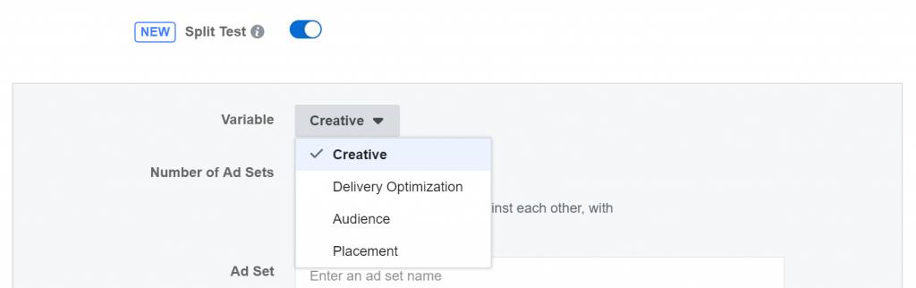 Facebook update split testing setting