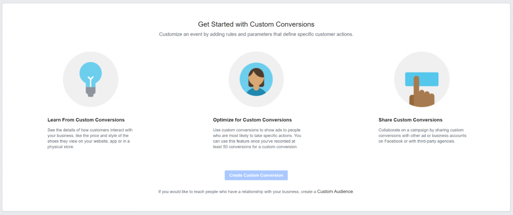 Facebook Ads Manager - Custom Conversions