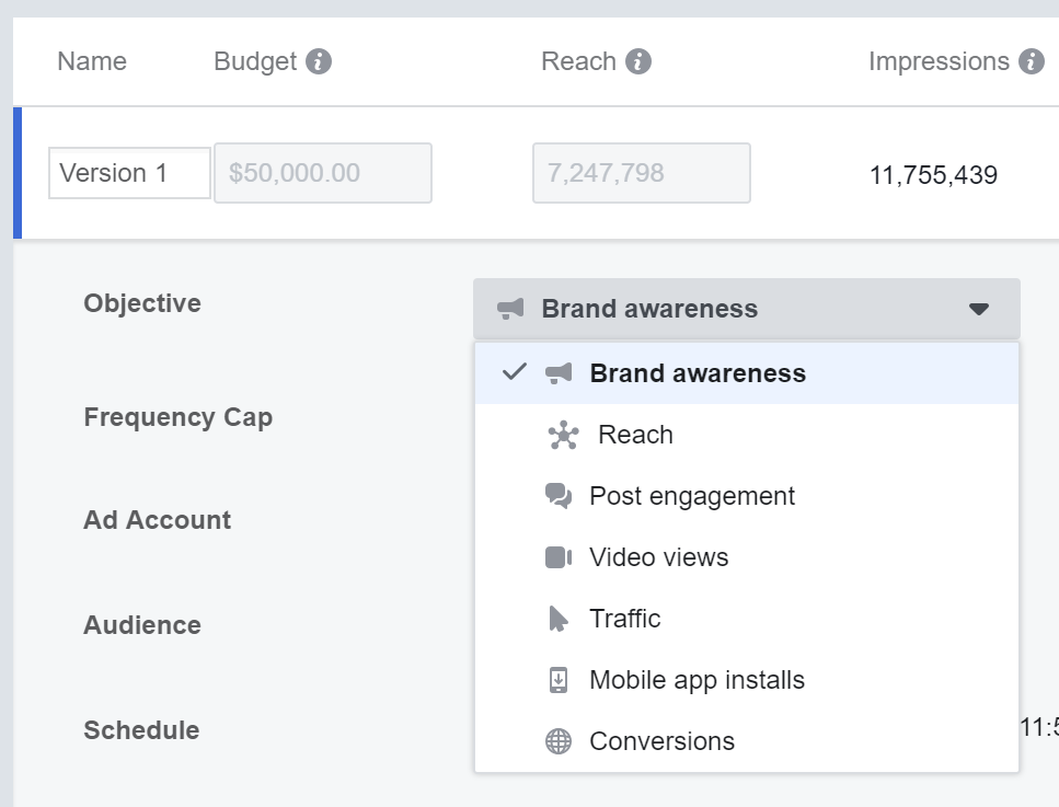 Facebook Ads Manager - Campaign Planner