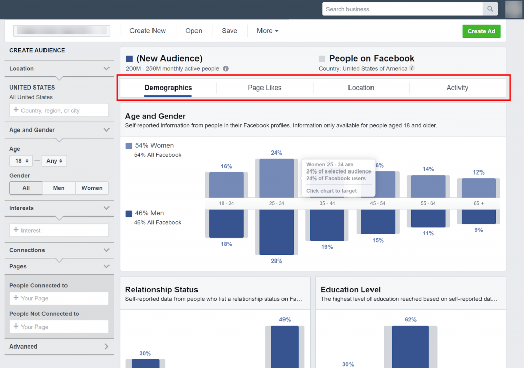 Facebook Ads Manager - Audience Insights
