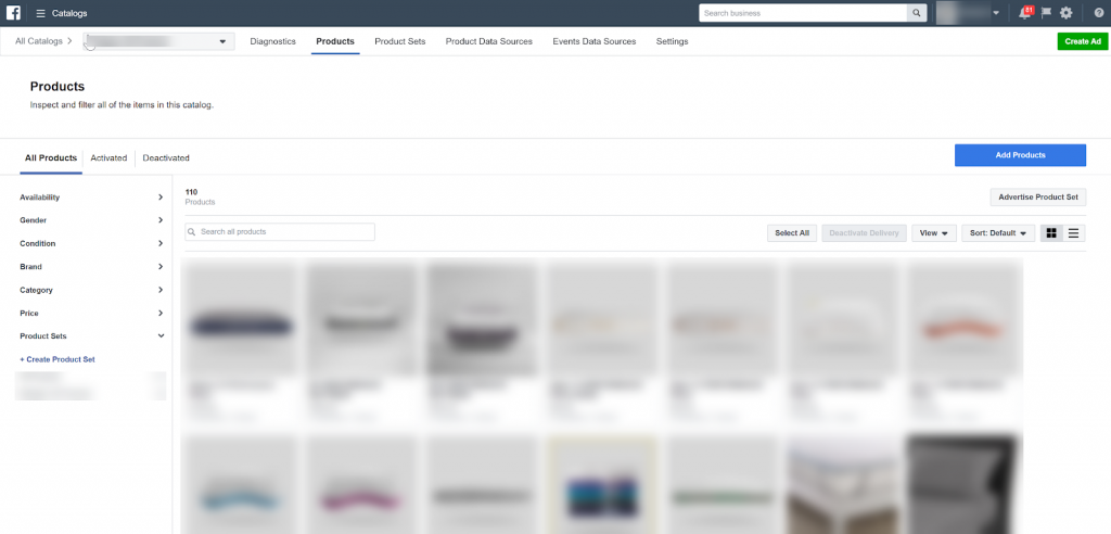 Facebook Ads Manager - Product Catalog