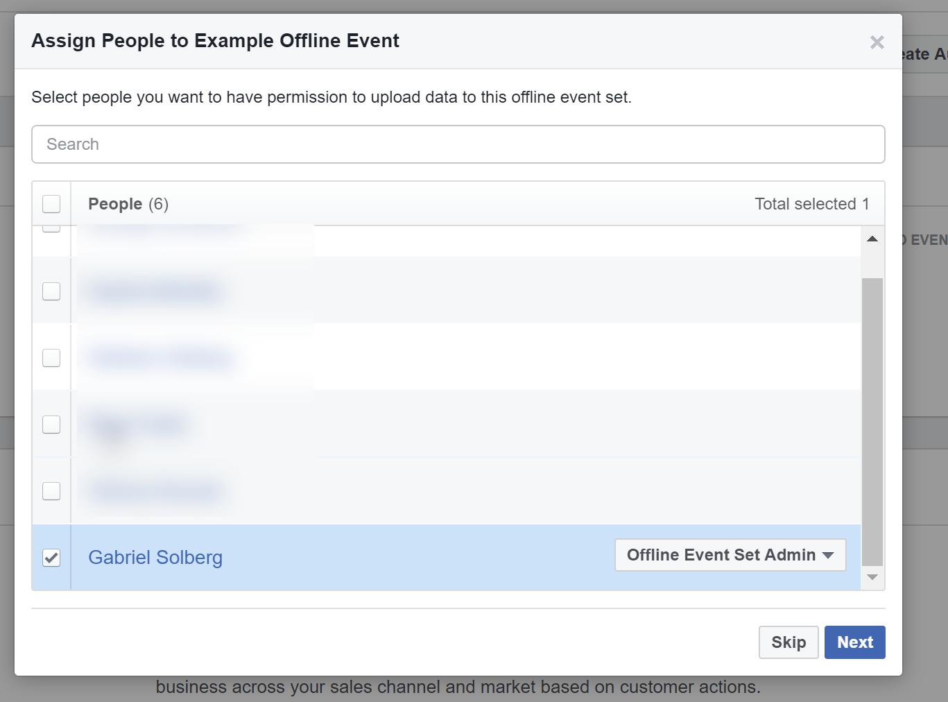 Facebook Ads Manager - Offline Events