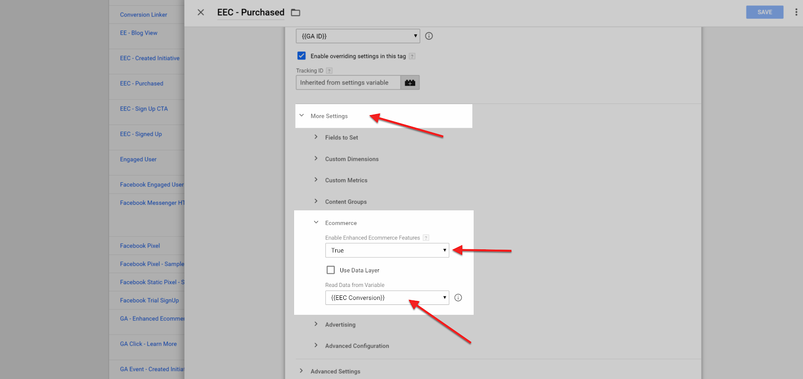 Conversion Funnel Google Tag Manager Tag Settings