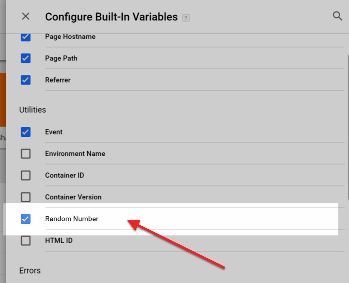 Configure built in variable