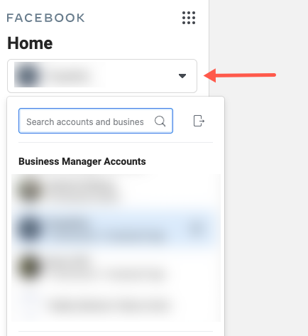 business settings left side nav account access