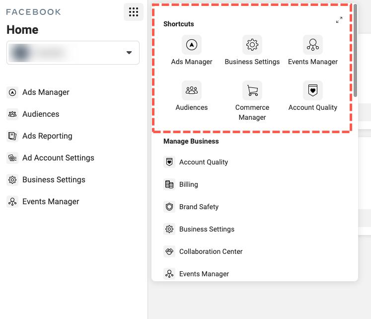 facebook business manager settings left side nav