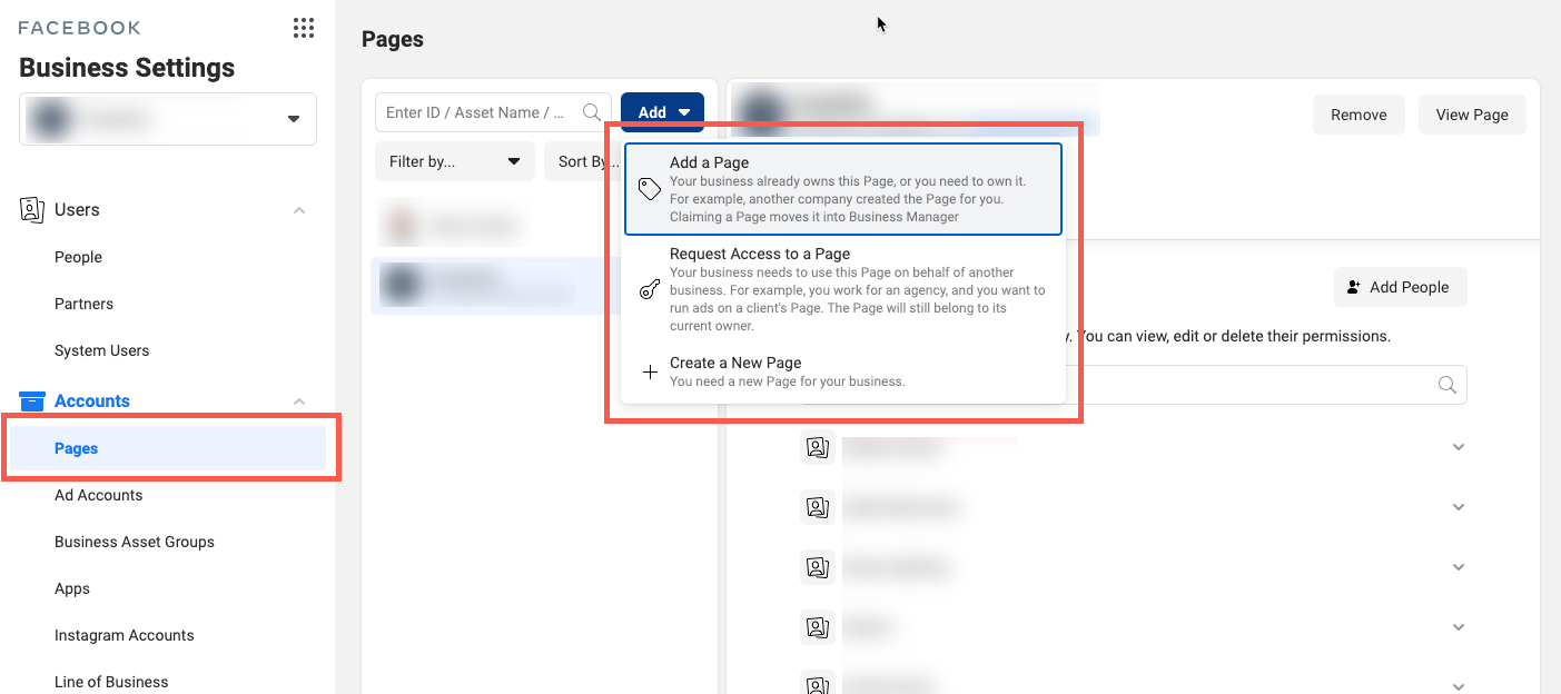 Facebook Business Manager Pages