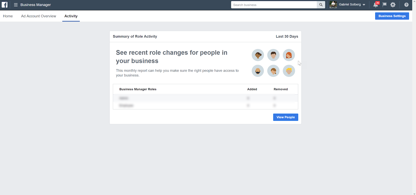 Facebook Business Manager - Activity