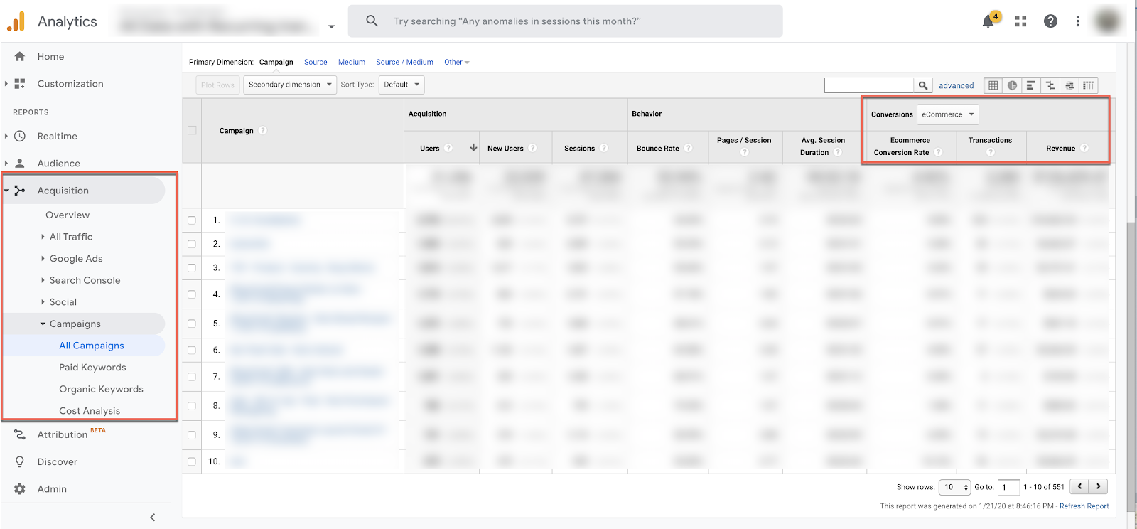 google analytics all campaigns ecommerce metrics