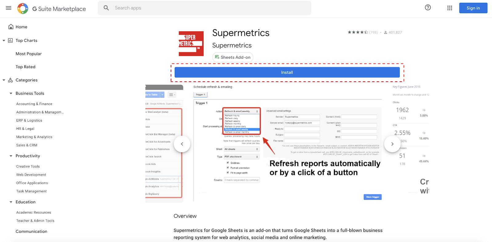 Supermetrics for Google Sheets Install