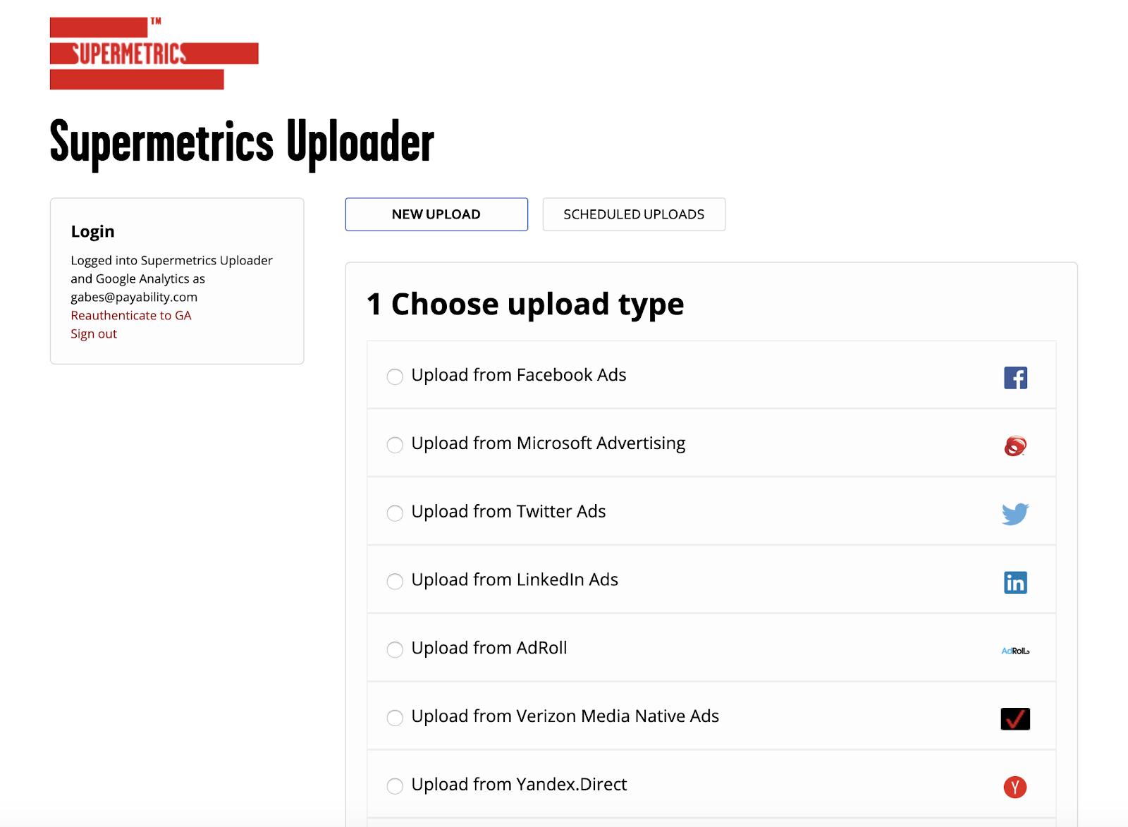 Supermetrics Uploader - Choose upload type