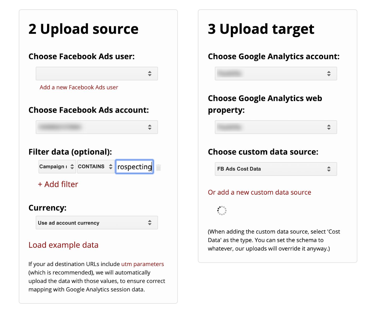 Supermetrics Uploader - Define upload source and target