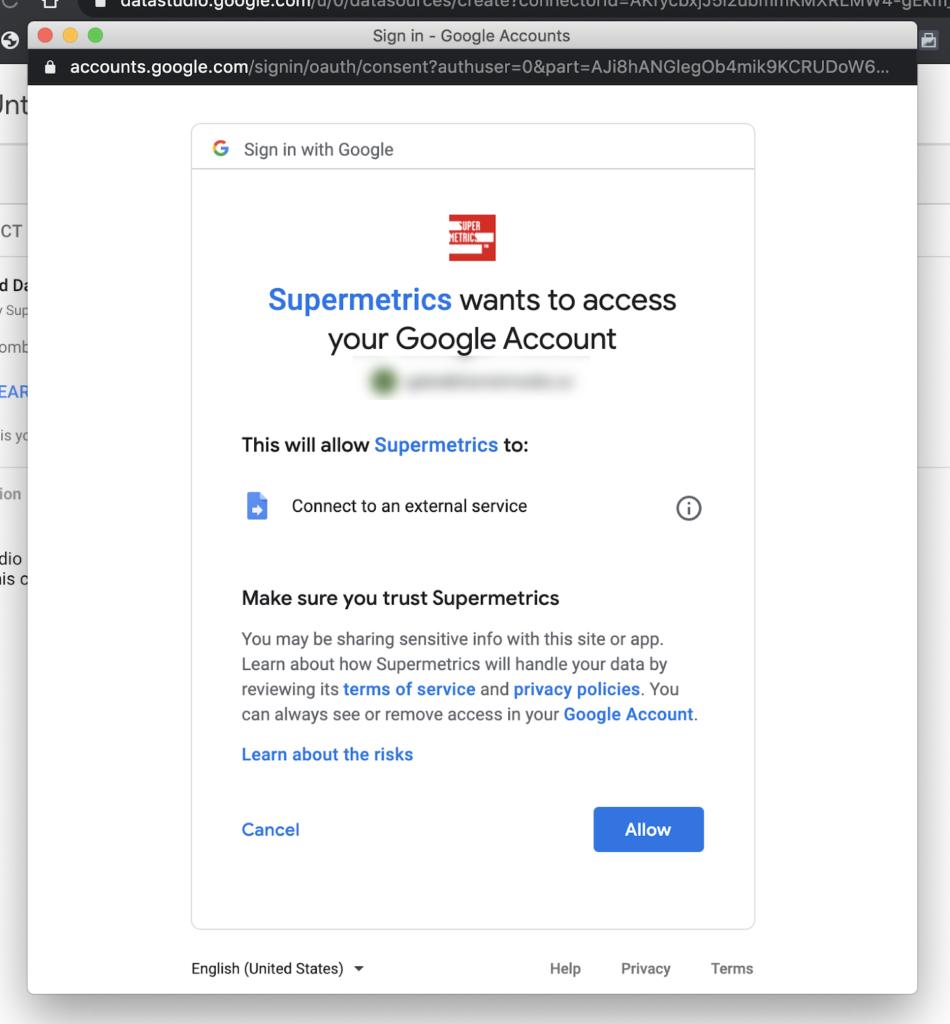 Supermetrics permissions
