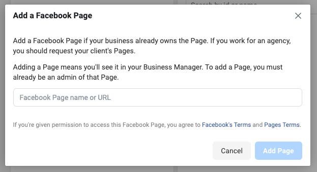 how to add facebook page to business manager
