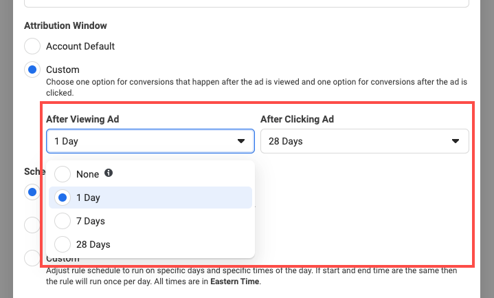 facebook ad automated rules attribution window