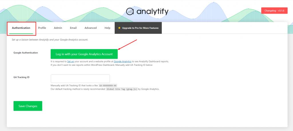 Analytify Authentication Window