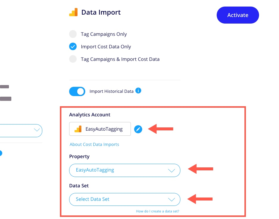 Cost Data Import Google Analytics